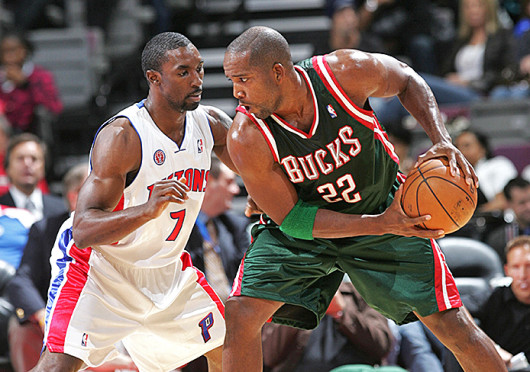 Then-Milwaukee Bucks guard Michael Redd (22) attempts to beat a defender during a game against the Detroit Pistons Oct. 7, 2009, at the Palace of Auburn Hills. Credit: Courtesy of MCT