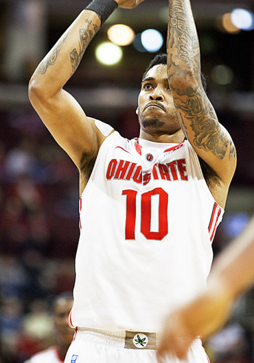 Then-junior forward LaQuinton Ross (10) takes a free throw during an exhibition game against Walsh Nov. 3 at the Schottenstein Center. OSU won, 93-63. Credit: Kelly Roderick / For The Lantern