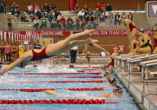 The OSU women's swimming team takes off during a meet against Ohio Nov. 9 at McCorkle Aquatic Pavilion. OSU won, 193-106. Credit: Amanda Carberry / Lantern photographer