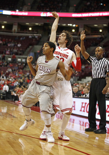 Sophomore guard Amedeo Della Valle (33) watches his shot during an exhibition game against Walsh Nov. 3 at the Schottenstein Center. OSU won, 93-63. Credit: Kelly Roderick / For The Lantern