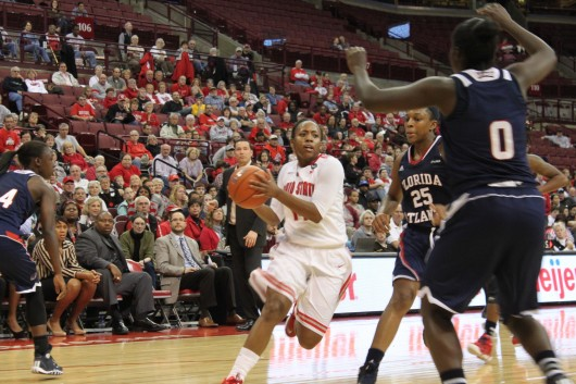 Sophomore guard Ameryst Alston (14) drives to the basket during a game against Florida Atlantic Nov. 10 at the Schottenstein Center. OSU won, 91-88. Credit: Ryan Robey / Lantern photographer