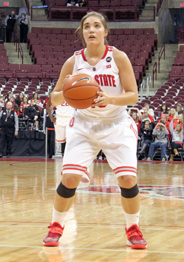 Sophomore guard Cait Craft (13) shoots a free throw during a game against Florida Atlantic Nov. 10 at the Schottenstein Center. OSU won, 91-88. Credit: Ryan Robey / For The Lantern