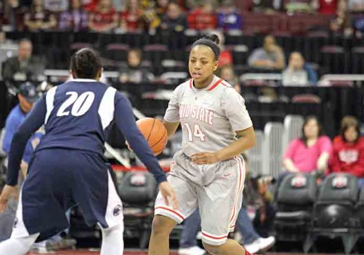 Then-freshman guard Ameryst Alston (14) dribbles the ball during a game against Penn State Jan. 27 at St. John Arena. OSU lost, 71-56. Credit: Daniel Chi / For The Lantern