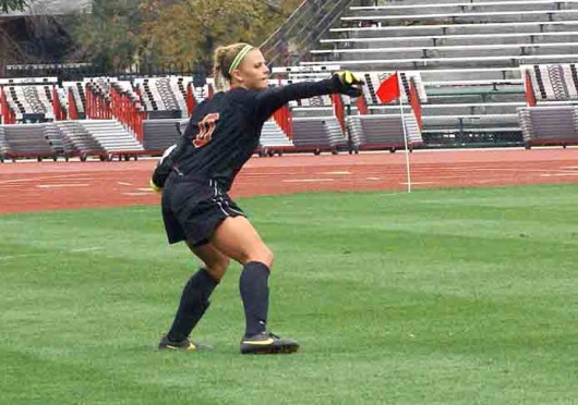 Sophomore goalkeeper Jillian McVicker (0) throws the ball during a match against Purdue Sept. 29 at Jesse Owens Memorial Stadium. OSU lost, 1-0. Credit: Michele Theodore / Copy chief