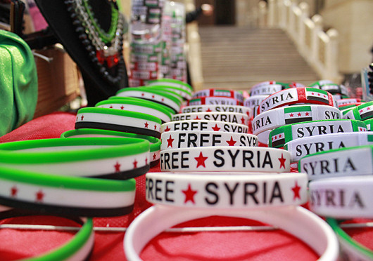 Syrian refugees seeking income in Egypt have set up tables outside the Houssary Mosque in Cairo to sell trinkets. According to the UN, nearly 2 million Syrians have fled to Egypt in the past year.