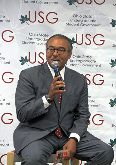 Columbus Mayor Michael Coleman speaks at a USG General Assembly meeting Oct. 1 at Ohio Union about the Columbus Education Plan.
