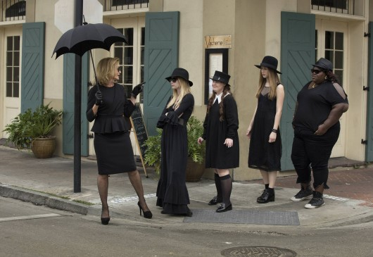 """Jessica Lange, left, stars in """"American Horror Story: Coven"""" on FX with Emma Roberts, Jamie Brewer, Taissa Farmiga and Gabourey Sidibe.The show was nominated for Best TV Movie or Mini-Series for the 71st annual Golden Globes, which is set to air Jan. 12.  Credit: Courtesy of MCT"""