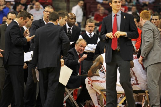 Thad Matta (center) instructs his team during a timeout of a game against North Dakota State Dec. 14 at the Schottenstein Center. OSU won, 79-62. Credit: Shelby Lum / Photo editor
