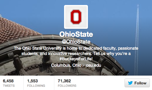 OSU was recently ranked No. 9 on the list of Top 100 Social Media Colleges, compiled by Student Advisor. Credit: Screenshot of OSU's Twitter account, @OhioState
