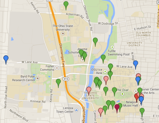 A map of campus area bank ATM and branch locations based off of the OSU-Huntington contract and the respective banks' websites.<br />Click through for an interactive version.