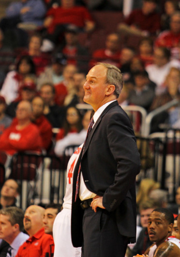 OSU coach Thad Matta looks on during a game against Bryant Dec. 11 at the Schottenstein Center. OSU won, 86-48. Credit: Shelby Lum / Photo editor