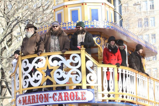 """Members of the TV show """"Duck Dynasty"""" ride a float during the Macy's Thanksgiving Day Parade in New York Nov., 28. Phil Robertson, a cast member of the A&E show, was suspended indefinitely after making controversial comments about homosexuality to GQ Magazine.  Credit: Courtesy of MCT"""