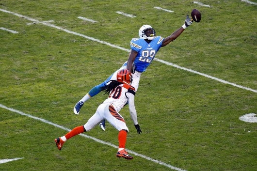 LaDarius Green of the San Diego Chargers tries to make a catch during a game against the Cincinnati Bengals at Qualcomm Stadium Dec. 1. The Bengals won, 17-10. Credit: Courtesy of MCT