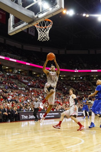 Junior forward LaQuinton Ross (10) flies to the hoop for a score during a game against Central Connecticut State Dec. 7 at the Schottenstein Center. Credit: Kelly Roderick / For The Lantern