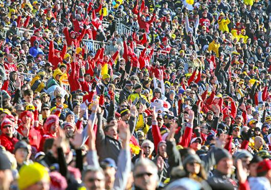 OSU fans celebrate a big play during a game against Michigan Nov. 30 at Michigan Stadium. OSU won, 42-41. Credit: Ritika Shah / Asst. photo editor