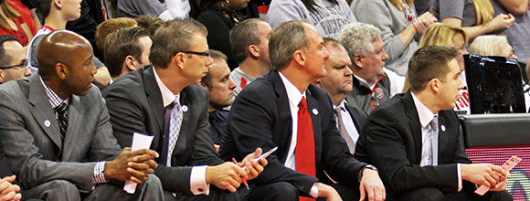 OSU coaches (from left) Dave Dickerson, Jeff Boals, Thad Matta and Greg Paulus look on during a game against Penn State Jan. 29 at the Schottenstein Center. Credit: Lantern file photo