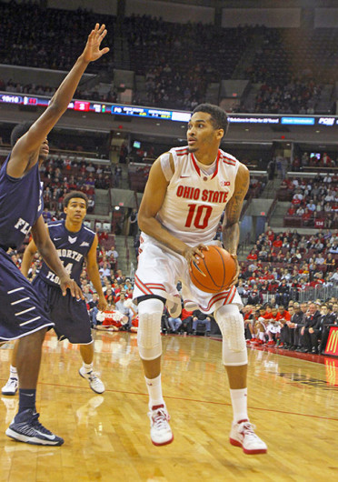 Junior forward LaQuinton Ross (10) looks toward the basket during a game against North Florida Nov. 29 at the Schottenstein Center. OSU won, 99-64. Credit: Shelby Lum / Photo editor