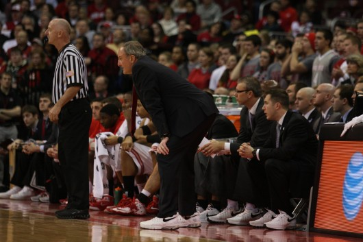 OSU coach Thad Matta looks on during a game against Penn State Jan. 29 at the Schottenstein Center. OSU lost, 71-70 in overtime. Credit: Shelby Lum / Photo editor