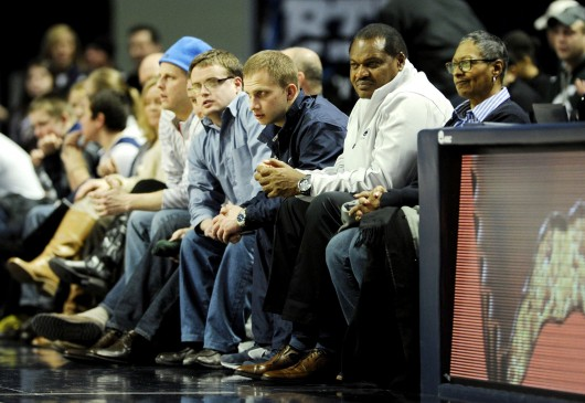 Then-Penn State interim football coach Larry Johnson sits courtside at the Bryce Jordan Center in State College, Pa., Jan. 8. The Minnesota Gophers defeated the Penn State Nittany Lions, 68-65. Credit: Courtesy of MCT