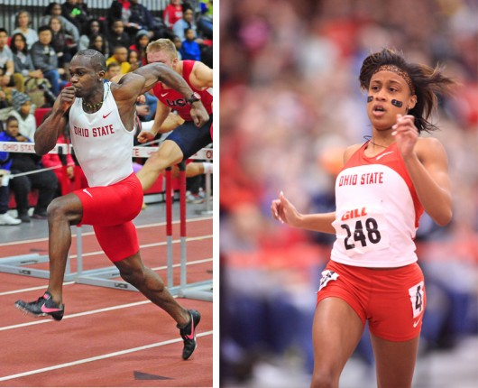 Senior sprinter and hurdler Demoye Bogle (left) and senior sprinter Chesna Sykes (right) compete during the 60-meter and 200-meter dashes at the Buckeye Classic Jan. 10 at Jesse Owens Memorial Stadium. Bogle won the race with a time of 7.65 seconds, and Sykes won her race with a time of 24.93 seconds. Credit: Courtesy of OSU athletics