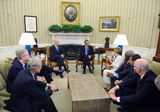 Leaders of the Democrats in the House of Representatives meet with President Barack Obama in the Oval Office of the White House on Tuesday, October 15, 2013, over the budget and government shutdown. (Olivier Douliery/Abaca Press/MCT)