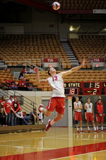 Freshman outside hitter Miles Johnson fires a serve during a match against Lees-McRae Jan. 17 at St. John Arena. OSU won, 3-0. Credit: Shelby Lum / Photo editor
