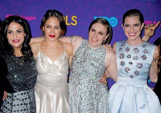 Jenni Konner (left), Jemima Kirke, Lena Dunham and Allison Williams attend the premiere of 'Girls' Season 3, held at Jazz at Lincoln Center in New York City Jan. 6.  Credit: Courtesy of MCT
