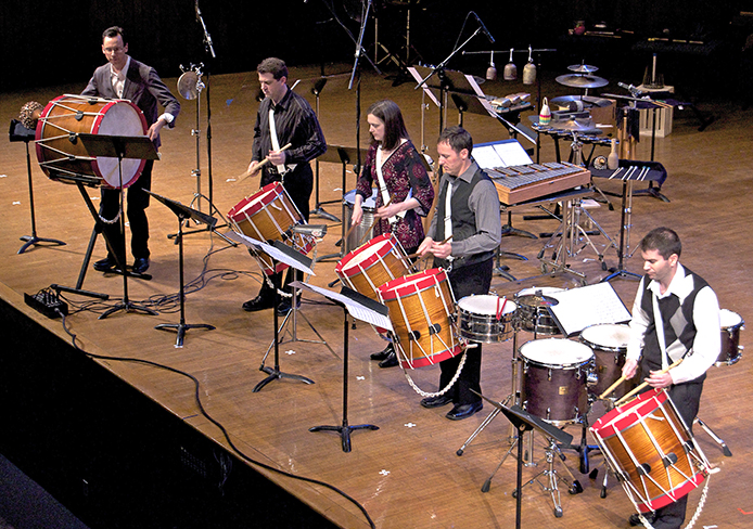 Christopher Norton (left), Scott Herring, Susan Powell, Joseph Krygier and Kristopher Keeton of the Sympatico Percussion Group.  The group is set to perform 8 p.m. Tuesday at Weigel Auditorium.  Credit: Courtesy of Tyler Crea