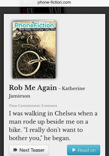A screenshot of PhoneFiction's website, a digital publications house that gathers contemporary short stories. Credit:  Courtesy of John Preston Witt