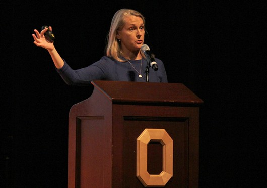 Author Piper Kerman, whose book 'Orange is the New Black' inspired the original Netflix series of the same name, spoke to OSU students in a lecture sponsored by OUAB.  Credit: Shelby Lum / Photo editor