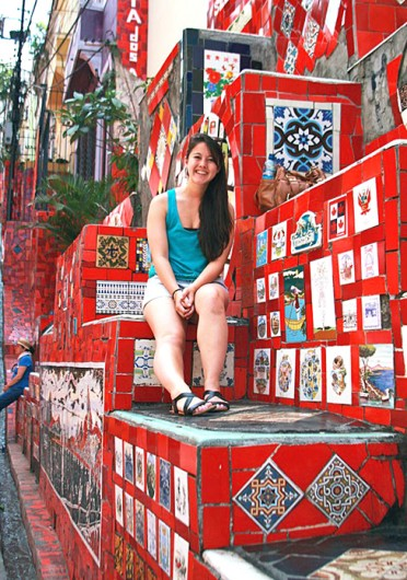 Photo editor Shelby Lum at the Steps Selarón in Rio de Janeiro October 2012. Credit: Courtesy of Shelby Lum