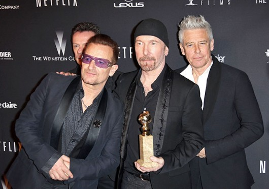 Bono, The Edge and Adam Clayton arrives to the Weinstein Company & Netflix 2014 Golden Globes After Party in Los Angeles Jan. 12.  Credit: Courtesy of MCT