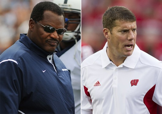 (Left) Former Penn State defensive line coach Larry Johnson is reported to be coming to OSU as a defensive coach. Courtesy of The Daily Collegiate  <br/> Arkansas defensive coordinator Chris Ash is reported to be coming to OSU as a defensive coach. Courtesy of Arkansas Athletic Department