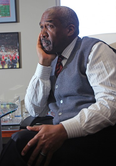 Newly promoted vice president and current athletic director of OSU Gene Smith in an interview with The Lantern. Credit: Shelby Lum / Photo editor