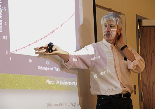 Robert Bindschadler, an emeritus scientist from NASA, speaks Friday at Derby Hall. Bindschadler talked about the issue of ice loss in Antarctica. Credit: Ritika Shah / Asst. photo editor