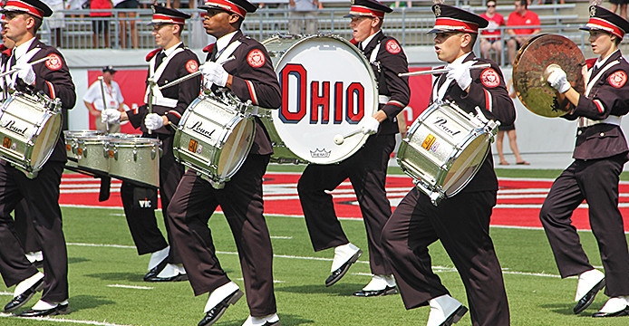 The OSU Marching Band plays at a football game against Buffalo. Credit: Ritika Shah / Asst. photo editor