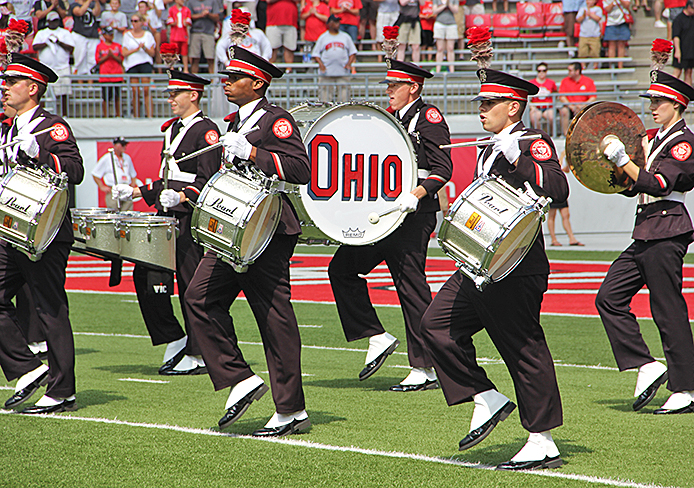 The OSU Marching Band plays at a football game against Buffalo. Credit: Ritika Shah / Asst. photo editor