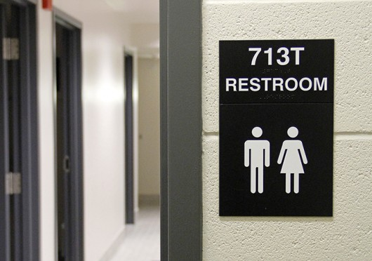 A gender-neutral bathroom in Smith-Steeb Hall. OSU students dwelling in Ohio State residence halls will soon be able to request to live on a floor with only gender-neutral bathrooms.<br />Credit: Ritika Shah / Asst. photo editor