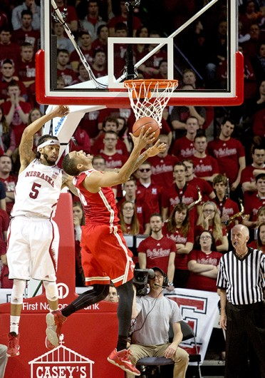Junior forward LaQuinton Ross (10) drives to the basket during a game against Nebraska Jan. 20 at Pinnacle Bank Arena. OSU lost, 68-62. Credit: Spencer Myrlie / Daily Nebraskan