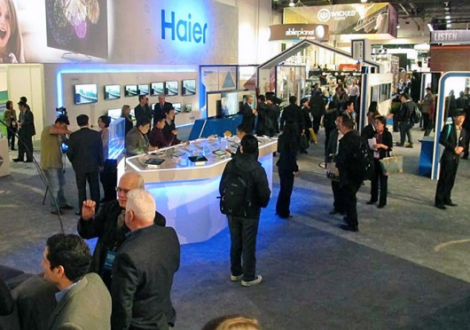Six OSU students and 3 instructors went to Las Vegas to work at the Consumer Electronics Show in early January. Their trip was funded by Chinese appliance company Haier. Credit: Courtesy of Amanda Amsel