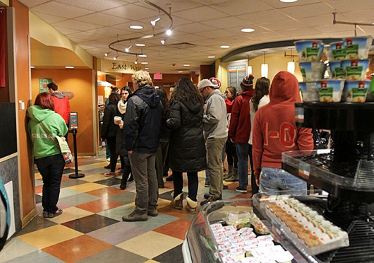 People wait in line for their orders at Marketplace, an OSU dining facility located at 1578 Neil Ave. Credit: Shelby Lum / Photo editor