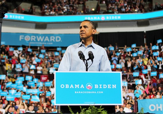 President Barack Obama speaks at a campaign rally May 5, 2012, at the Schottenstein Center. Credit: Cody Cousino / For The Lantern