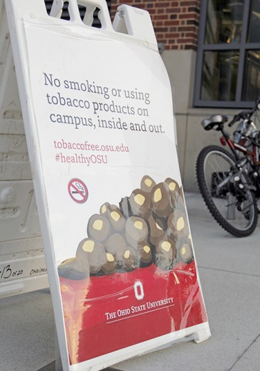 A no smoking sign outside the Ohio Union Jan. 12. OSU's tobacco ban went into effect Jan. 1, and $100,000 has been budgeted for signage and banners promoting the policy. Credit: Ritika Shah / Asst. photo editor