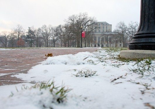 Snow blanketed the Oval, Jan. 6. OSU closed Jan. 6 and Jan. 7 because of extreme weather conditions. Credit: Shelby Lum / Photo editor