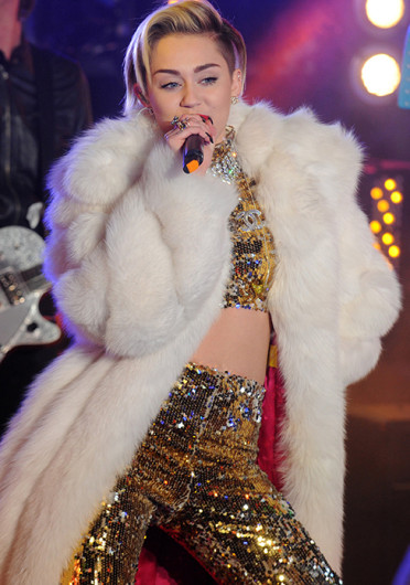 Singer Miley Cyrus performs during the celebration for the new year at Times Square Dec. 31. Credit: Courtesy of MCT.