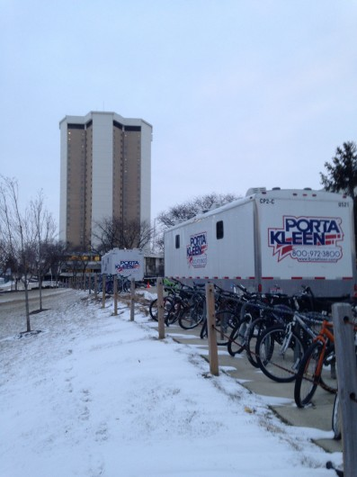 Heated, portable toilets were made available to students Jan. 22. A water main break caused OSU to shut down water service to Lincoln and Morrill Towers and the Drake Performance and Event Center that day. Credit: Daniel Bendtsen / Senior Lantern reporter
