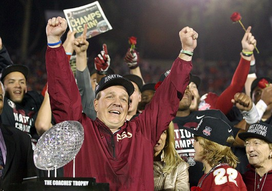 Florida State coach Jimbo Fisher celebrates after the BCS National Championship against Auburn Jan. 6 at the Rose Bowl. Florida State won, 34-31. Credit: Courtesy of MCT