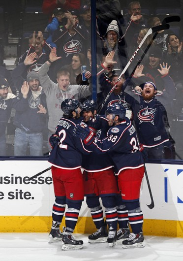 The Columbus Blue Jackets celebrate a goal during a game against the Los Angeles Kings Jan. 21 at Nationwide Arena. The Blue Jackets won, 5-3. Courtesy of MCT