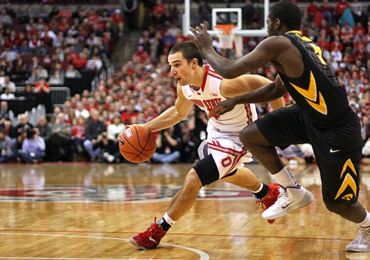 Senior guard Aaron Craft (4) drives to the basket during a game Iowa Jan. 12 at the Schottenstein Center. OSU lost, 84-74. Credit: Shelby Lum / Photo editor