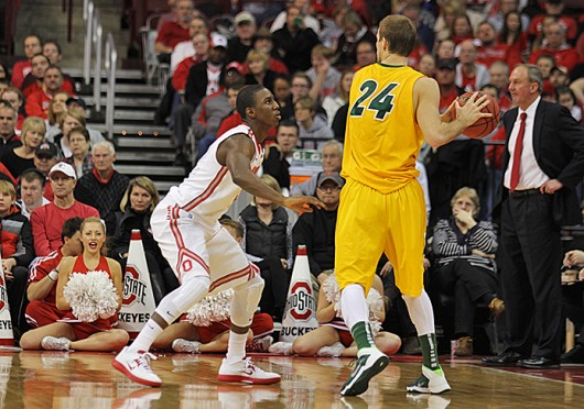 Junior guard Shannon Scott (left) guards an opposing player during a game against North Dakota State Dec. 14 at the Schottenstein Center. OSU won, 79-62. Credit: Shelby Lum / Photo editor